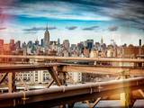Instants of NY Series - View of Brooklyn Bridge with the Empire State Buildings Photographic Print by Philippe Hugonnard