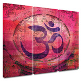 Om Mandala 3 piece gallery-wrapped canvas Poster by Elena Ray
