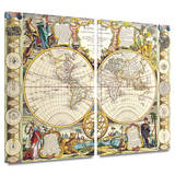 Mappe-Monde Carte Universelle de la Terre Dressee 2 piece gallery-wrapped canvas Print by Samuel Dunn