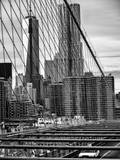 View of Brooklyn Bridge with the One World Trade Center (1WTC) and New York by Gehry Buildings Photographic Print by Philippe Hugonnard