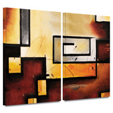 Abstract Modern 2 piece gallery-wrapped canvas Prints by Jim Morana