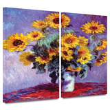 Sunflowers 2 piece gallery-wrapped canvas Gallery Wrapped Canvas Set by Claude Monet