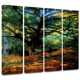 Bodmer at Oak at Fountainbleau 4 piece gallery-wrapped canvas Gallery Wrapped Canvas Set by Claude Monet