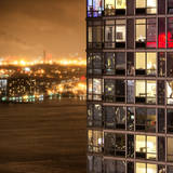 Architecture and Building in Downtown Manhattan by Night Photographic Print by Philippe Hugonnard