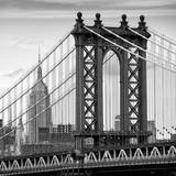 Manhattan Bridge with the Empire State Building from Brooklyn Bridge Reproduction photographique par Philippe Hugonnard