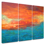 Lake Reflections II 3 piece gallery-wrapped canvas Prints by Herb Dickinson
