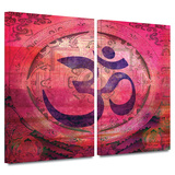 Om Mandala 2 piece gallery-wrapped canvas Prints by Elena Ray