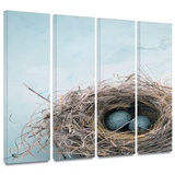 Blue Nest 4 piece gallery-wrapped canvas Gallery Wrapped Canvas Set by Elena Ray