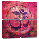 Om Mandala 4 piece gallery-wrapped canvas Prints by Elena Ray