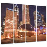 Chicago- The Bean I 4 piece gallery-wrapped canvas Gallery Wrapped Canvas Set by Dan Wilson