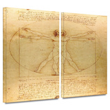 Vitruvian Man 2 piece gallery-wrapped canvas Prints by Leonardo DaVinci
