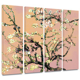 Interpretation in Eggshell Almond Blossom 4 piece gallery-wrapped canvas Prints by Vincent van Gogh