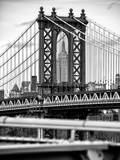 Manhattan Bridge with the Empire State Building Center from Brooklyn Bridge Photographic Print by Philippe Hugonnard