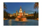 Morman Temple with Fountain, Oakland, Ca Photographic Print by Henri Silberman