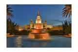 Morman Temple with Fountain, Oakland, Ca Lámina fotográfica por Henri Silberman