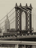 Manhattan Bridge with the Empire State Building from Brooklyn Bridge Photographic Print by Philippe Hugonnard