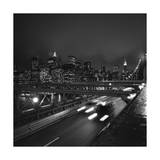 Brooklyn Bridge Traffic with Manhattan View at Night Photographic Print by Henri Silberman