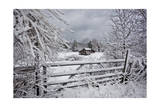 Snow Covered Gate and Old Farm Wide View Photographic Print by Henri Silberman