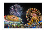 Nc State Fair Rides and Fireworks at Night Photographic Print by Henri Silberman
