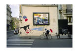 French Umbrella Biker, Paris Photographic Print by Henri Silberman