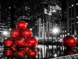 The Giant Christmas Ornaments on Sixth Avenue across from the Radio City Music Hall by Night Photographic Print by Philippe Hugonnard