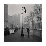 Under Lamp Post in Rain. Brooklyn Heights Photographic Print by Henri Silberman