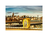 Police Emergency Call Box on the Walkway of the Brooklyn Bridge with Skyline of Manhattan Photographic Print by Philippe Hugonnard