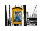 Police Emergency Call Box on the Walkway of the Brooklyn Bridge in New York Photographic Print by Philippe Hugonnard
