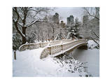 Snow Covered Bridge Central Park Photographic Print by Henri Silberman