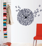 Crazy Numerary Clock Wall Decal Autocollant mural