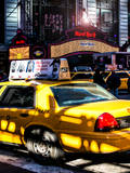 Yellow Taxi Times Square with Hard Rock Cafe Photographic Print by Philippe Hugonnard