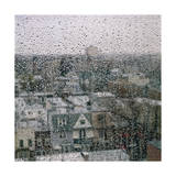 View of Brooklyn with Rain on Window Photographic Print by Henri Silberman