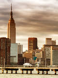 Jetty View with City and the Empire State Building at Sunset Photographic Print by Philippe Hugonnard
