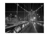On the Brooklyn Bridge Night Fotografisk tryk af Henri Silberman