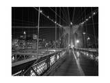 On the Brooklyn Bridge Night Photographic Print by Henri Silberman