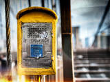 Instants of NY Series - Police Emergency Call Box on Walkway of Brooklyn Bridge in New York Photographic Print by Philippe Hugonnard
