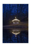 Christmas Lights on Cabin at Night Photographic Print by Henri Silberman