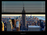 Window View with Venetian Blinds: Manhattan View with the Empire State Building (1 WTC) Reproduction photographique par Philippe Hugonnard