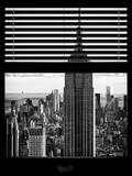 Window View with Venetian Blinds: Manhattan View with the Empire State Building Photographic Print by Philippe Hugonnard