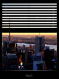 Window View with Venetian Blinds: Landscape Skyscrapers View of Manhattan at Nightfall Photographic Print by Philippe Hugonnard