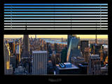 Window View with Venetian Blinds: Skyline NYC with the Empire State Building and 1WTC at Sunset Photographic Print by Philippe Hugonnard