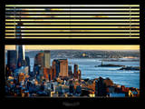 Window View with Venetian Blinds: Landscape Center (1 WTC) and Statue of Liberty - Hudson River Reproduction photographique par Philippe Hugonnard