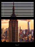 Window View with Venetian Blinds: the Empire State Building and One World Trade Center (1 WTC) Photographic Print by Philippe Hugonnard