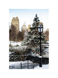 Entrance View to the Wollman Skating Rink of Central Park with a Snow Lamppost Photographic Print by Philippe Hugonnard
