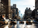 Urban Street Scene with NYC Yellow Taxis and the One World Trade Center of Manhattan in Winter Photographie par Philippe Hugonnard