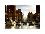 Urban Street Scene with NYC Yellow Taxis and One World Trade Center of Manhattan, Sunset in Winter Photographic Print by Philippe Hugonnard