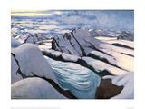 Alpine Mountain Chain Glaciers and Peaks in Snow Giclée-Druck von Félix Vallotton