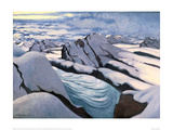 Alpine Mountain Chain Glaciers and Peaks in Snow Giclee Print by Félix Vallotton
