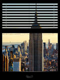 Window View with Venetian Blinds: Manhattan View with the Empire State Building at Sunset Photographic Print by Philippe Hugonnard