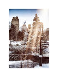Instants of NY Series - Entrance View to Wollman Skating Rink of Central Park with a Snow Lamppost Photographic Print by Philippe Hugonnard